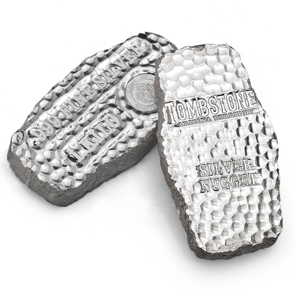 Tombstone Silver Nugget Silver Bar 1kg