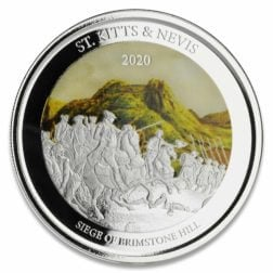 """2020 Ec8 St. Kitts & Nevis """"siege Of Brimstone Hill"""" 1 Oz Silver Color Coin"""