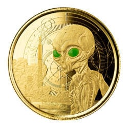 2021 Ghana Alien 1 oz Gold Proof with Color Coin