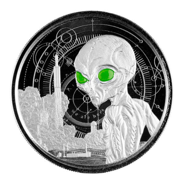 2021 Ghana Alien 1 oz Silver Proof with Color Coin